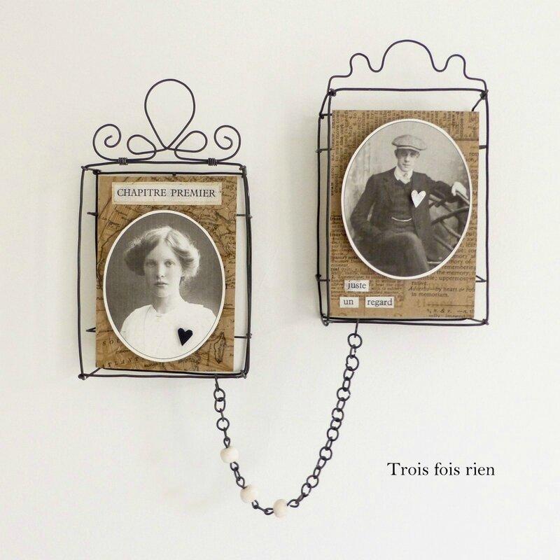 Mini box, boîtes fil de fer, wire box, portraits anciens, old photographies, lovers, les amoureux, trois fois rien (1)