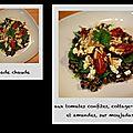 Salade chaude aux tomates confites, cottage cheese et amandes sur moujadara