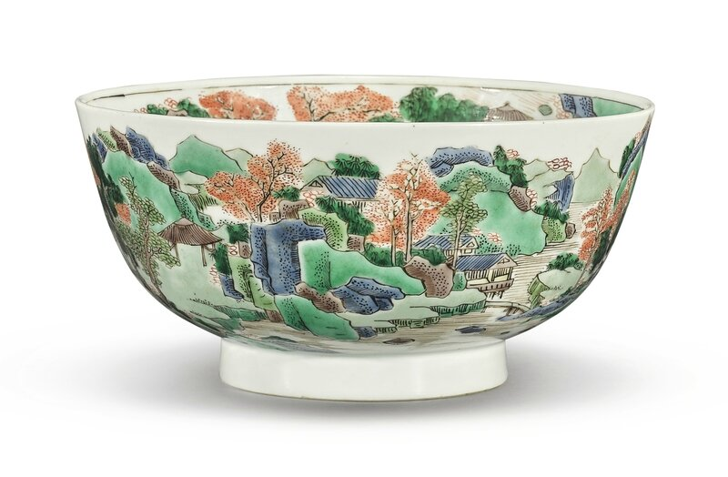 A Famille-verte 'Landscape' bowl, Qing dynasty, Kangxi period (1662-1722)
