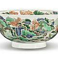 A famille-verte 'landscape' bowl, qing dynasty, kangxi period (1662-1722)