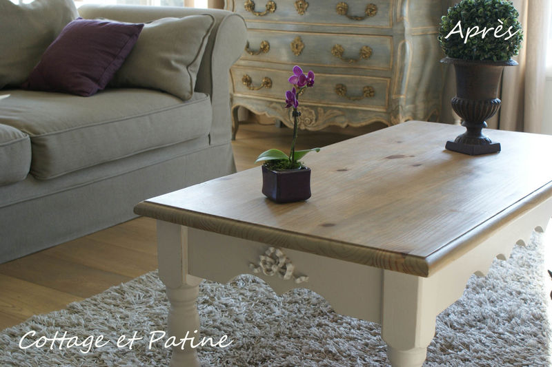 Table de salon revisit e cottage et patine le blog - Peindre une table basse ...