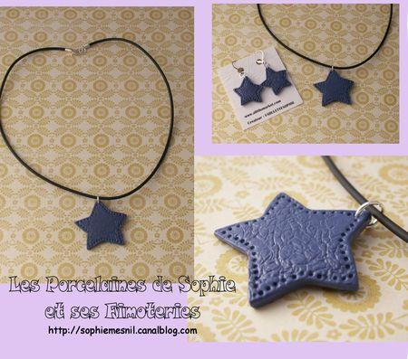 Collier étoile cuir bleu