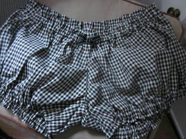 Culotte BIANCA en coton vichy noir et blanc - noeud noir fantaisie (2)