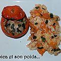 Tomates farcies sur leur lit de riz