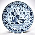 Plate with aquatic plants. Porcelain with underglaze cobalt decoration. Ming dynasty. Reign of the Yongle Emperor