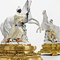 A pair of meissen ormolu-mounted horse and groom groups. circa 1750, ormolu 19th century
