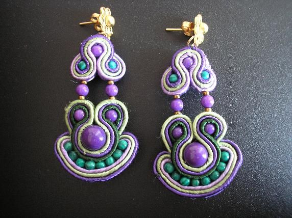 Bo soutache purple mountain jade et malachite.