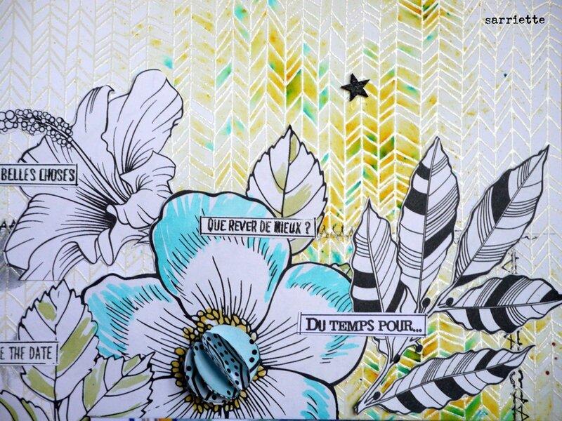 4 Effet brusho, coeur de fleur en 3D, journaling