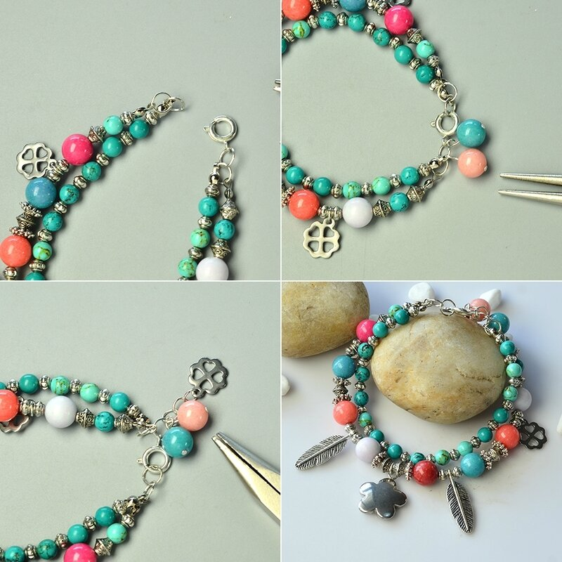 PandaHall-Tutorial-on-Two-strand-Mix-Beads-Bracelet-with-Tibetan-Style-Feather-Pendants-3