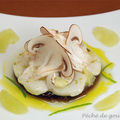 Carpaccio de Saint-Jacques marin au citron vert sur sa gele de champignons de Paris d'aprs Anne-Sophie Pic