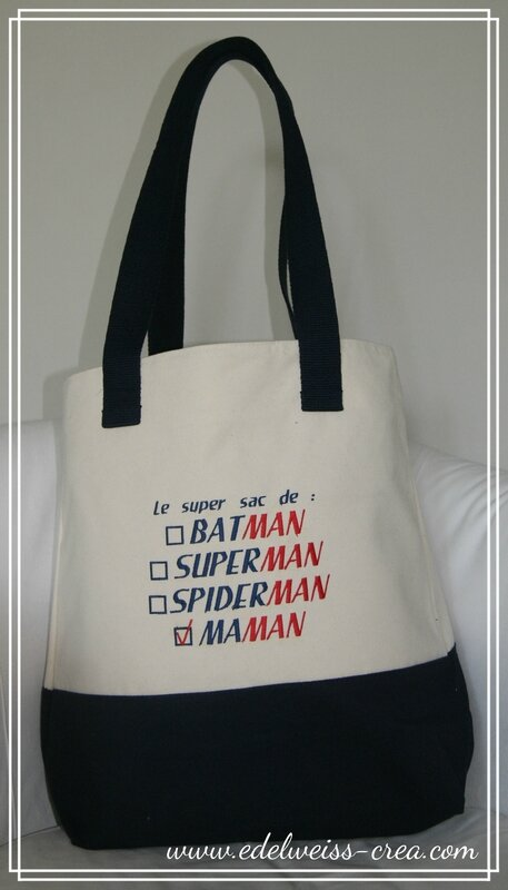 Sac marine zip - Le sac de superman batman maman