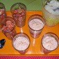 Tartare de saumon, mousse de saumon, et granité melon-téquila