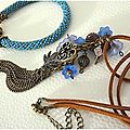 Collier bleuté assorti au bracelet crocheté (pour Elena)