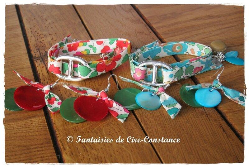 Bracelets catherine Betsy vert et grenadine-1