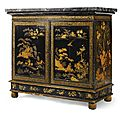 A george iv black and gilt lacquered side cabinet,circa 1820