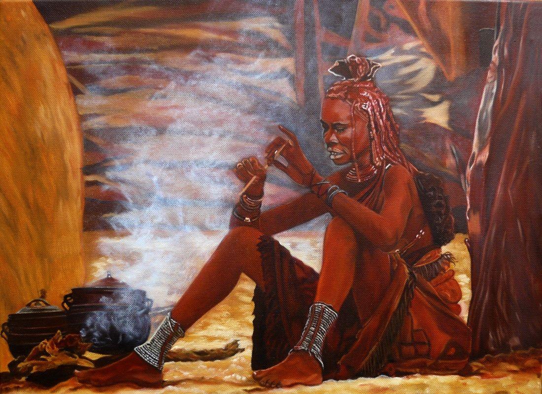 La Himba aux fourneaux - Huile 46 x 38 - 7 mai 2013