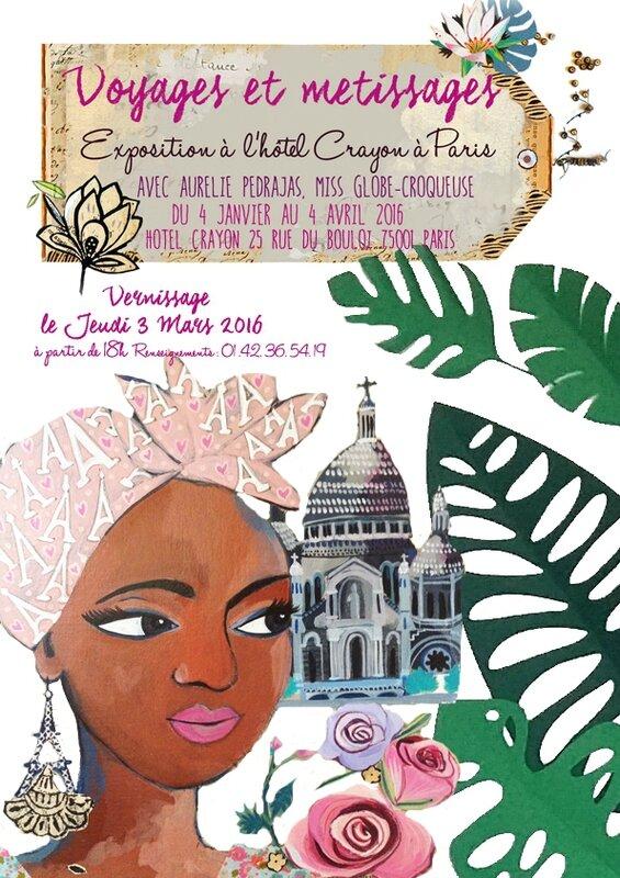 Affiche expo voyage metissage Paris hotel crayon 2016