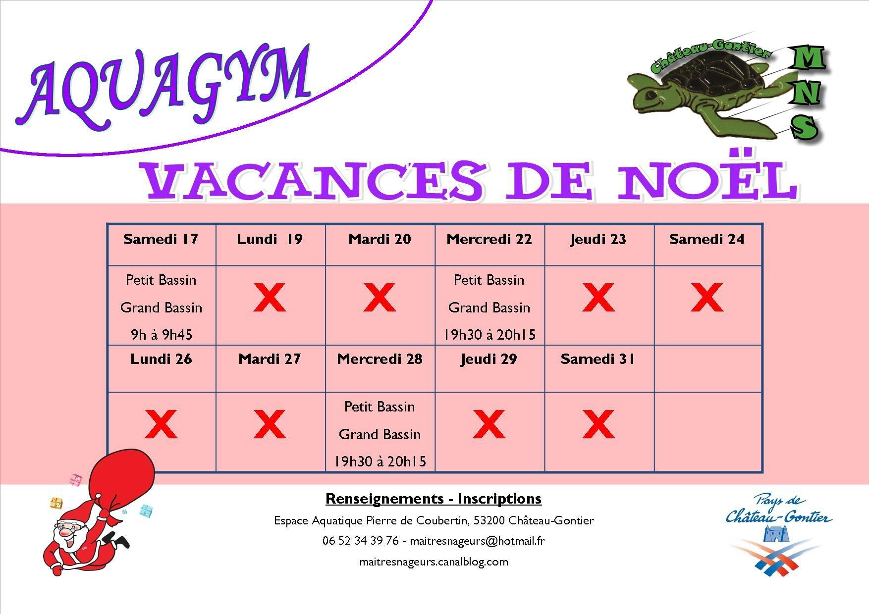 Aquagym programme des vacances de no l ma tres nageurs de ch teau gontier - Vacances scolaires noel 2016 ...