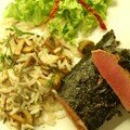 Agneau-Nori, riz saut aux champignons et estragon