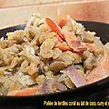 Poêlée de lentilles corail au lait de coco, curry et saumon fumé