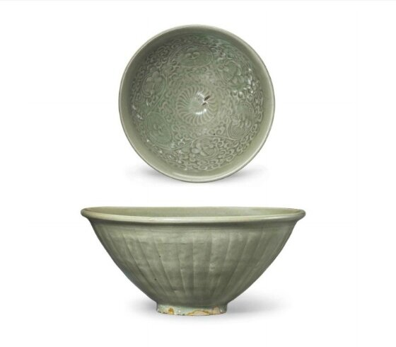 A rare large Yaozhou celadon carved conical bowl, China, Northern Song-Jin Dynasty, 11th-12th century