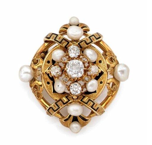 Broche ronde en or jaune, diamants taillés à l'ancienne et perles fines, Epoque Napoléon III