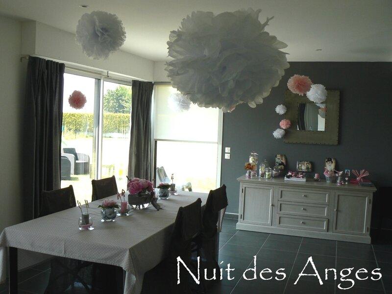 Nuit des anges décoratrice décoration de table baptême rose et gris 002