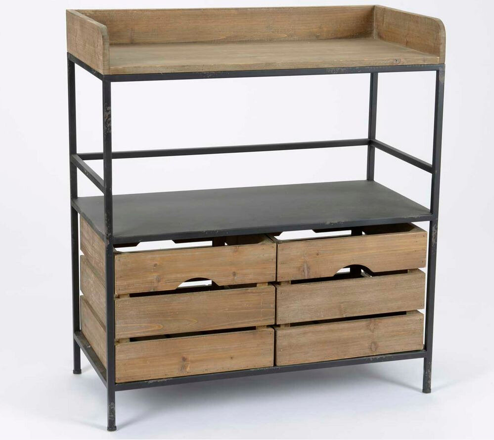 Meubles m tal bois industriels meuble amadeus for Meuble cuisine metal