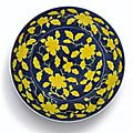 A yellow reserve blue-ground 'gardenia' dish. mark and period of yongzheng