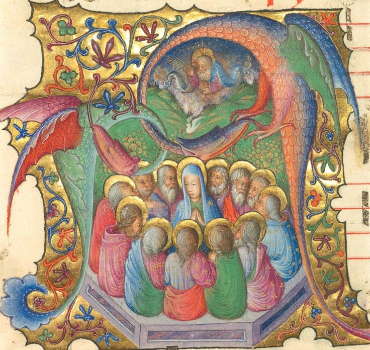 Initial A Pentecost, cutting from an antiphonal, Lombardy, attributed to Stefano da Verona, about 1430–35