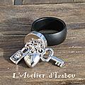 Cette jolie bague noire et ses 3 breloques cadenas strass, coeur et clé est très tendance, mariant le métal noir mat et les brel