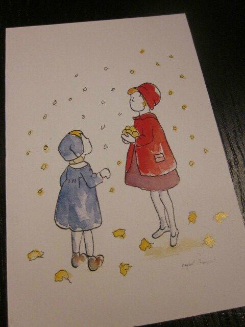 Carte postale - Tombent les feuilles II (2)