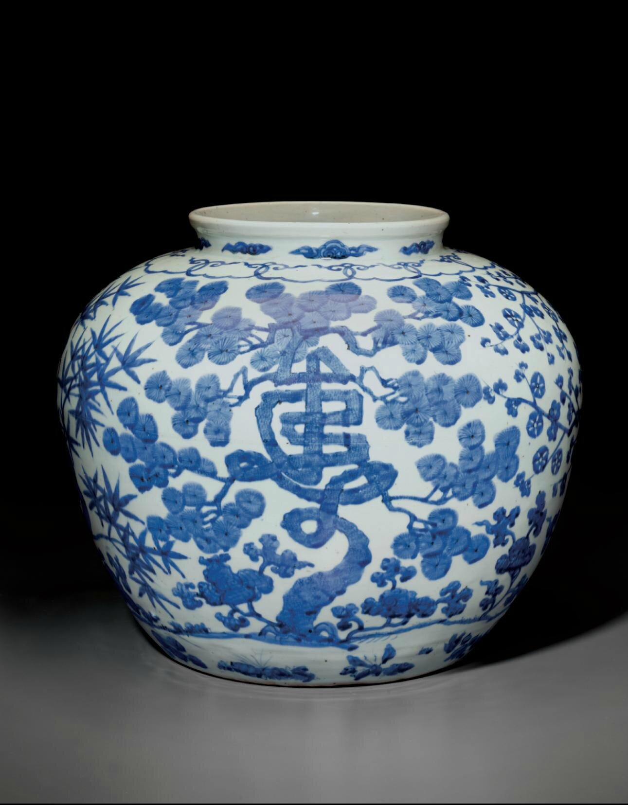 A large blue and white 'Three friends of winter' jar, Jiajing six-character mark in underglaze blue and of the period (1522-1566