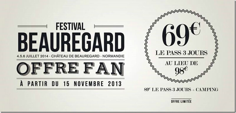 festival Beauregard 2014 offre fan billetterie