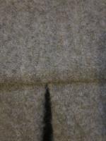 Manteau AGLAE en laine bouillie taupe chiné fermé par un noeud (1)