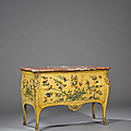 Importante commode en vernis parisien. attribuée à adrien delorme. époque louis xv, vers 1755