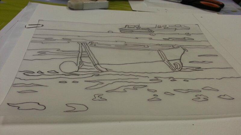 aquarelle modele barque décalquer