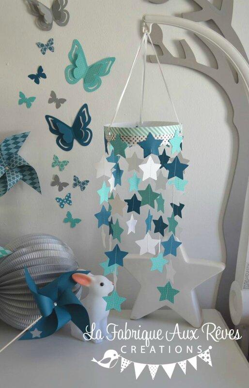 chambre bébé turquoise caraïbe, bleu pétrôlebleu canard, gris et
