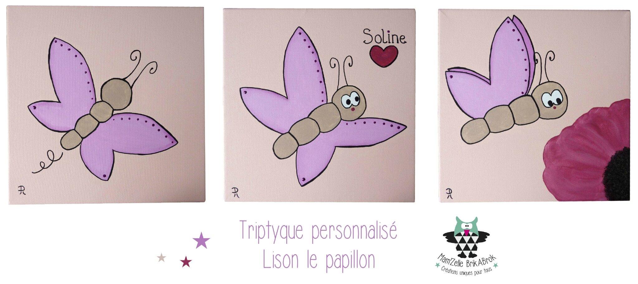 Triptyque personnalisé Lison le papillon
