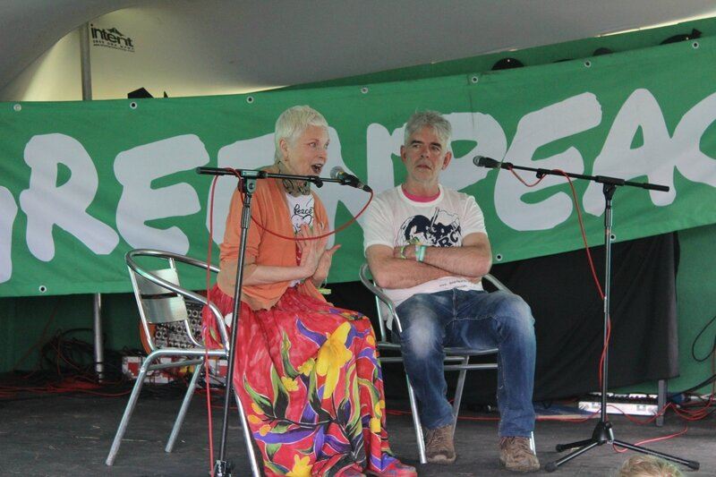 Glastonbury festival 2014 Vivienne Westwood John Sauven Greenpeace UK stop fracking global warming save Arctic