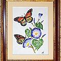 Aquarelle 18x24-24x30 Encadrée (Monarques sur fleurs bleues) [2]