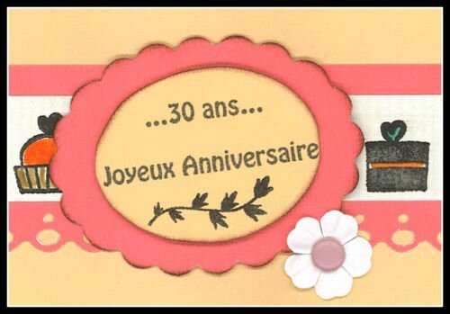 carte anniversaire 30 ans l 39 or e du scrap. Black Bedroom Furniture Sets. Home Design Ideas