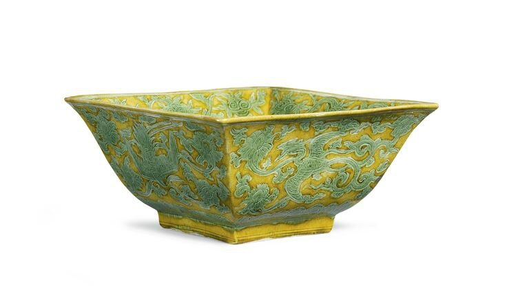 A rare yellow and green 'Crane and Phoenix' square bowl, Jiajing mark and period