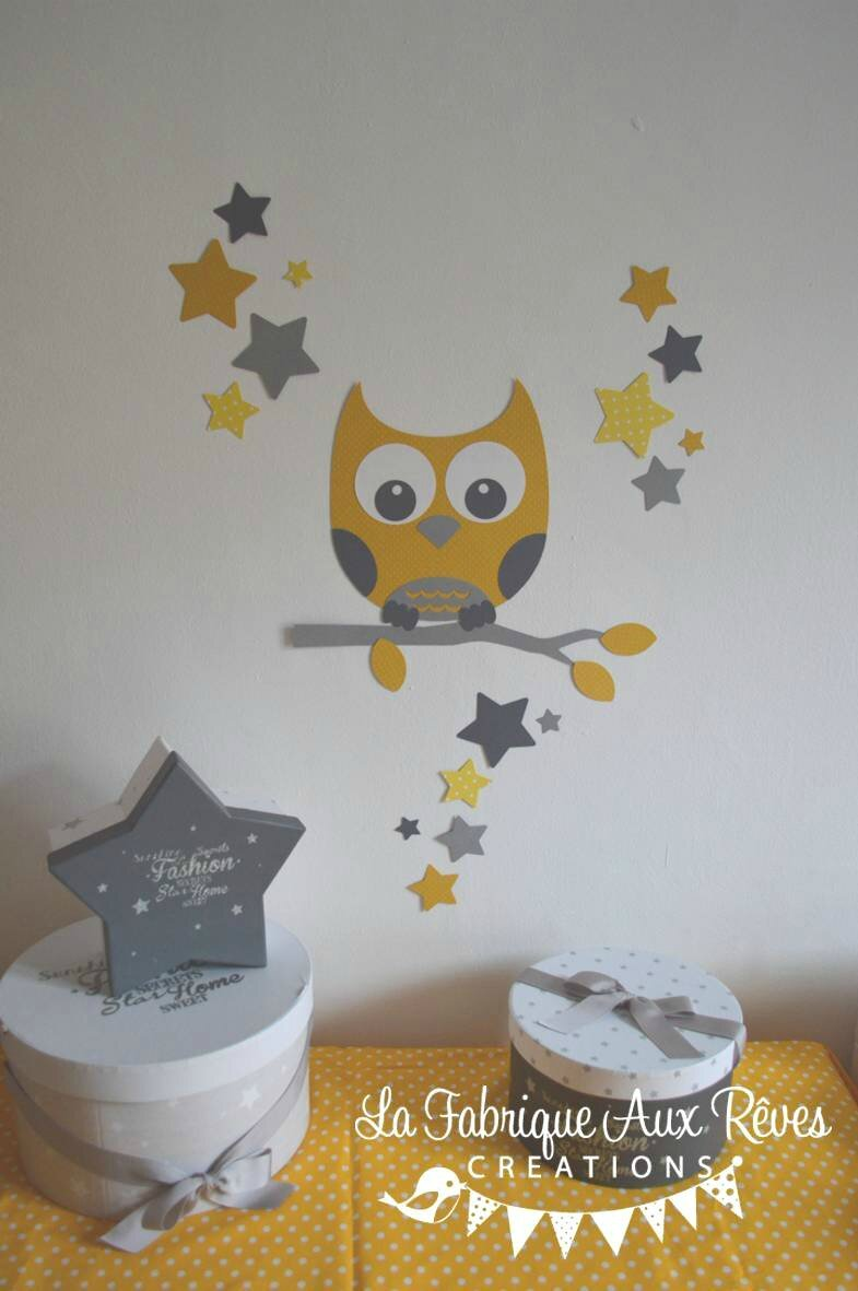 Stickers d coration chambre enfant b b branche hibou for Decoration jaune