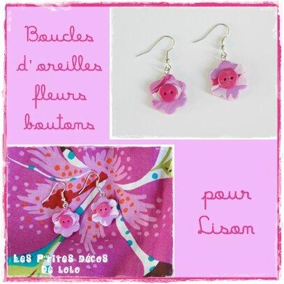 Boucles d'oreilles fleurs boutons