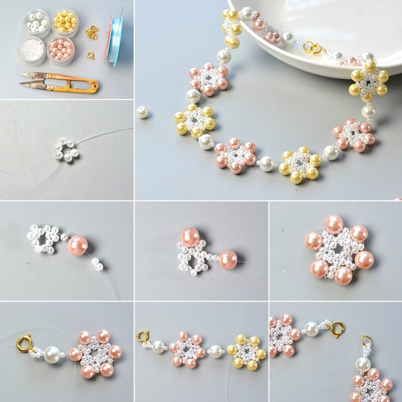 1080-Pandahall-Tutorial-on-How-to-Make-Fresh-Flower-Necklace-with-Pearl-Beads