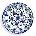 A fine blue and white barbed 'floral scroll' dish, ming dynasty, yongle period (1403-1424)