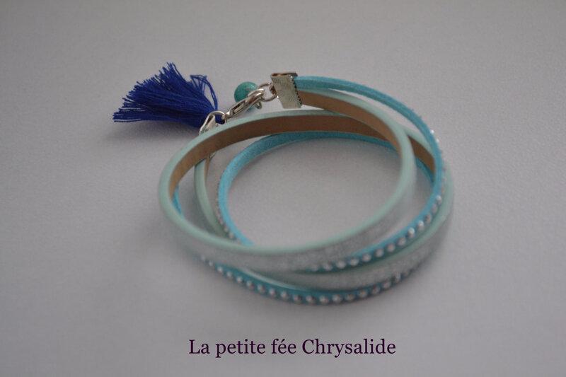 Bracelet double tours bleu clair( (3)