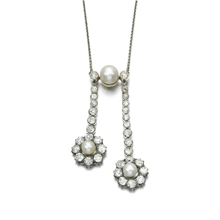 Natural pearl, cultured pearl and diamond necklace, late 19th century, composite