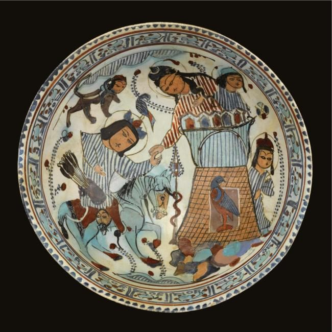 Black Flower 21st Century Op Art Set: A Fine Kashan Minai Pottery Bowl, Persia, 12th-13th